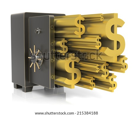 Steel safe with Gold Dollar Sign. Isolated on white. High resolution 3D rendering - stock photo