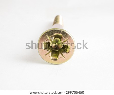 Steel screw for fixture in concrete on a white background - stock photo