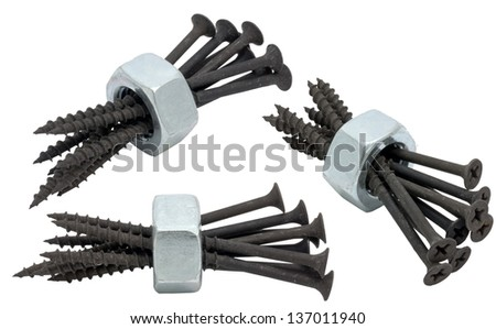 Steel screw for fixture in concrete on a white background close up is isolated - stock photo