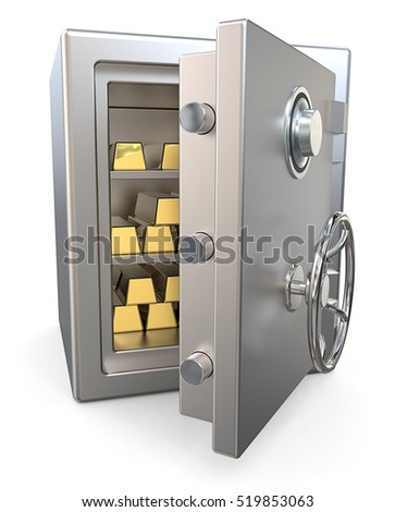 Steel Security Safe with Gold Bars.  3D render of a open Steel Security Safe with Gold Bars.