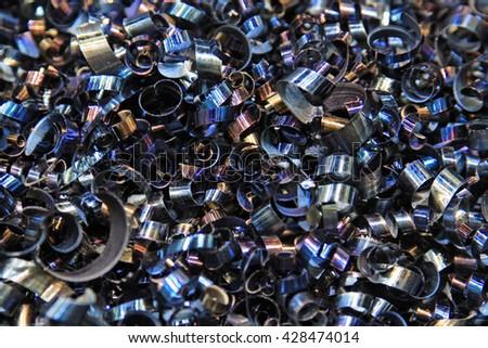 Steel shavings. Background for the designer's creativity - stock photo