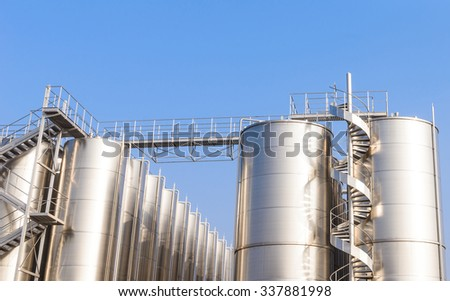 Steel silos with spiral staircases