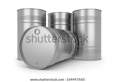 Steel silver oil barrels. Isolated on white background - stock photo