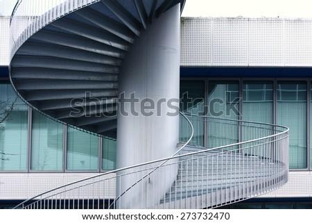 steel spiral steps - stock photo