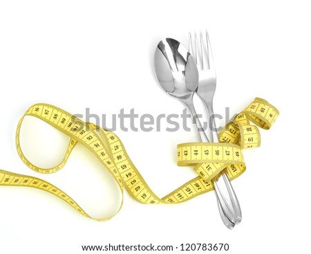 Steel spoon a fork and measuring tape  isolated on white background - stock photo