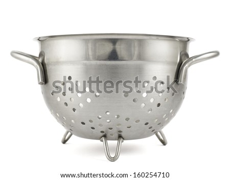 Steel strainer sieve metal bowl isolated over white background