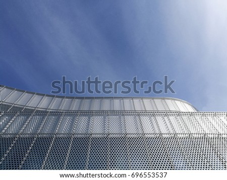 steel structure building urban industrial composition on blue sky background