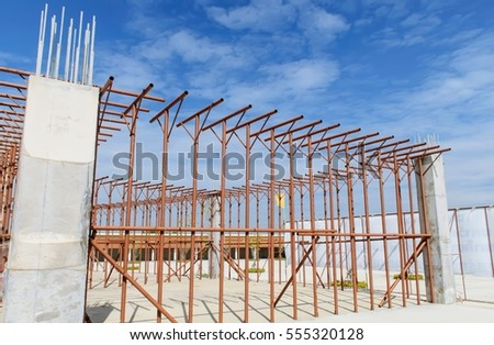 steel structure buildings with blue sky