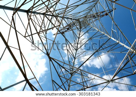 Steel structure of Transmission line tower on blue sky