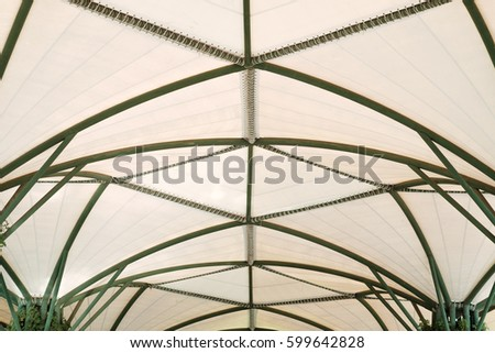 Steel Structure With Canvas Roof Background.