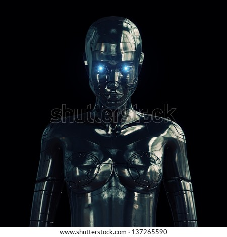 Steel stylish beautiful woman isolated on black / Metal artificial girl on black - stock photo