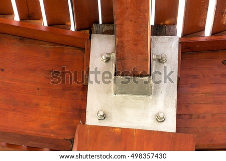 Steel support wooden beams