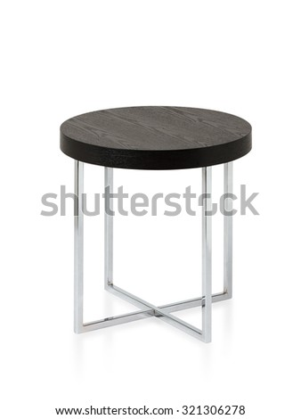 Steel table with wooden top isolated on white background