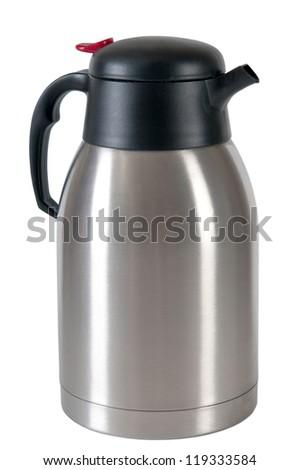 steel thermos - stock photo