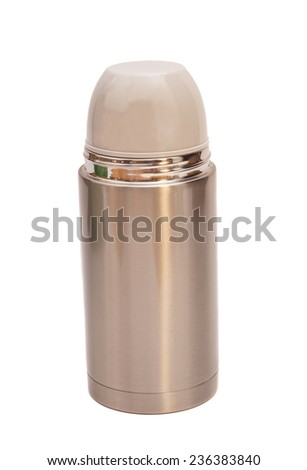 Steel thermos isolated on white background  - stock photo