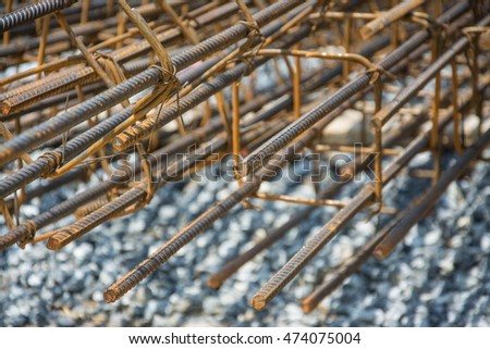 Steel tie of  post at construction site