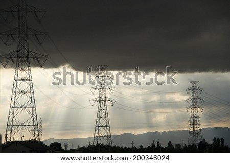 Steel Tower And The Transmission Lines