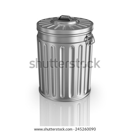 Steel trash can. - stock photo
