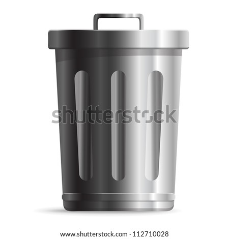 Steel Trash can isolated on white background - stock photo