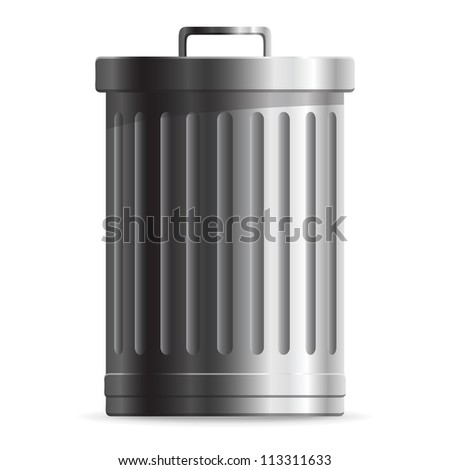 Steel Trash can isolated on white background