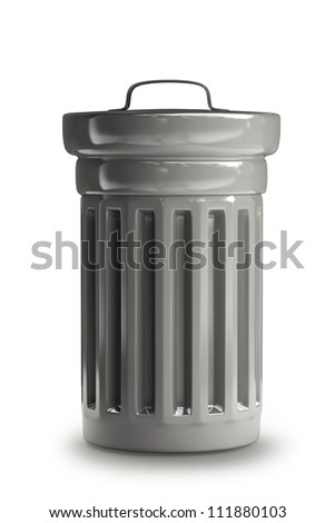 Steel trash can isolated on white background 3d render