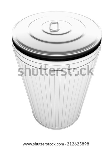 Steel Trash Can. Isolated White Background.  - stock photo