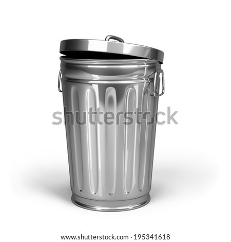 Steel trash can with lid. 3d image. White background. - stock photo
