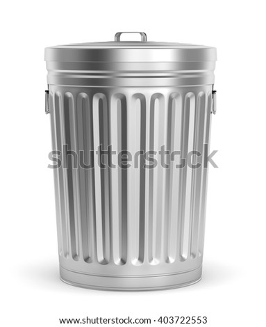 Steel trash can with lid isolated on white background. 3D illustration
