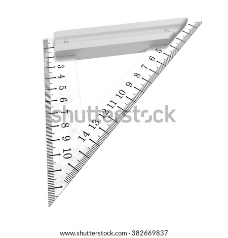 Steel Triangle Ruler Isolated on White Background