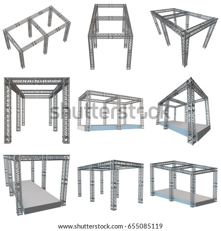 Steel truss girder rooftop construction outdoor ilustracin de steel truss girder rooftop construction with outdoor festival stage set 3d render podium isolated on malvernweather Image collections