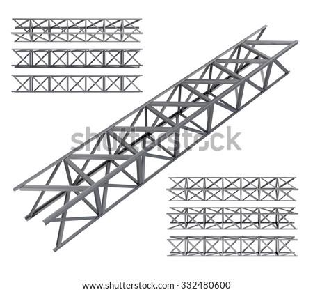 Steel truss girder set. Isolated on white - stock photo
