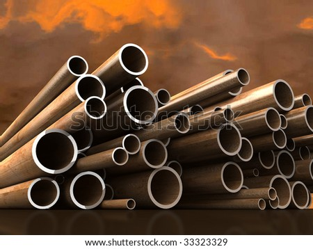 Steel tubes on atmospheric cloud background. For other similar images from the series, please, check my portfolio. - stock photo