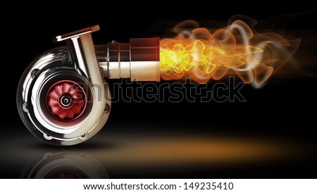 Steel turbocharger with fire isolated on black background. High resolution 3d render  - stock photo