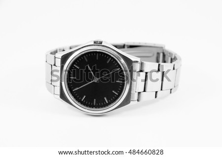 steel watch with black face