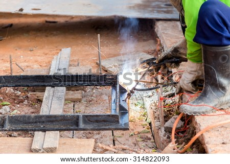 steel welding on construction site,see more  image in gallery