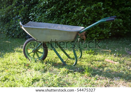 Steel wheelbarrow, Hampshire, England.