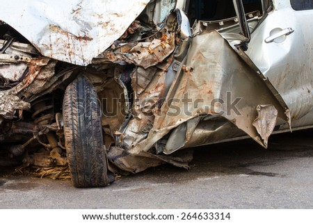 Steel wheels and side of the car color Bourne gold, which had an accident. - stock photo