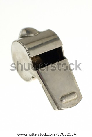 steel whistle isolated on white background, vertical photo - stock photo