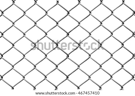 steel wire mesh fence isolate on white