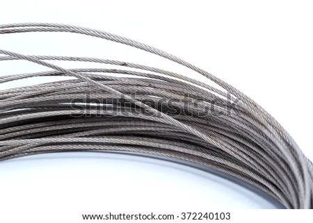 Steel wire rope cable closeup.