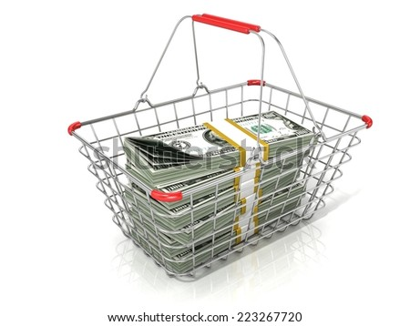 Steel wire shopping basket full of dollars stacks. Isolated on a white background - stock photo