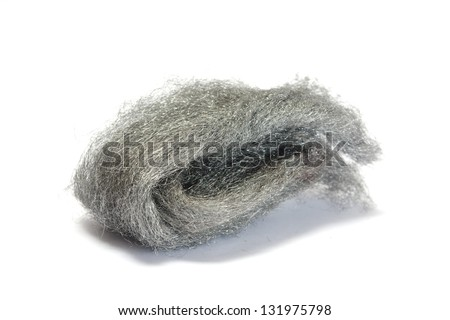 Steel wire wool isolated on white - stock photo