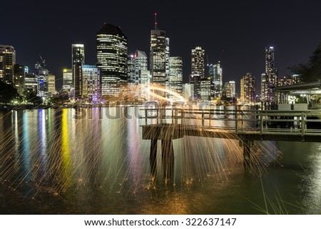 Steel Wool Spinning on a pier at Brisbane Kangaroo Point