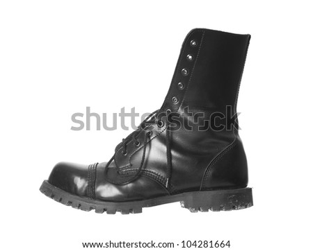 Steelcap leather boot isolated - stock photo