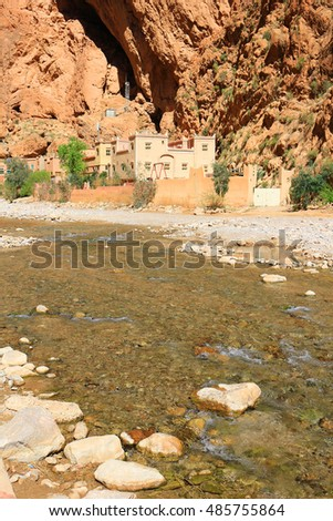Steep canyon walls in colorful Todra Gorge in Morocco Africa
