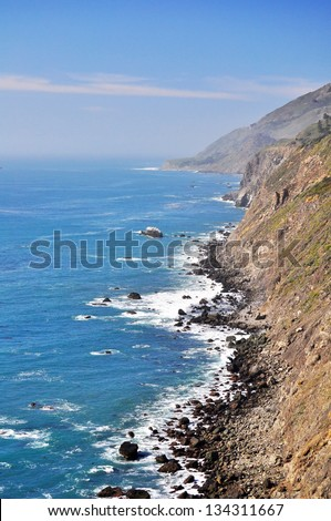 Steep cliffs line the Big Sur coast, California