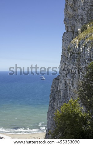 Steep cliffs of the Rock of Gibraltar