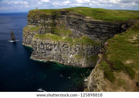 Steep Cliffs With Ocean Far Below - stock photo