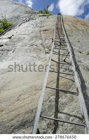 Steep ladders to the Mer-de-Glace glacier near Chamonix, French Alps - stock photo