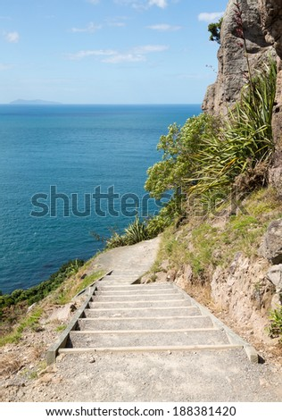 Steep path and hike around the Mount in Tauranga New Zealand